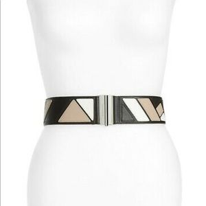Tory Burch XS Geometry Leather, Stretch Black Belt